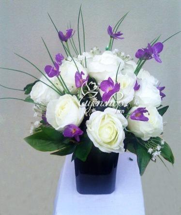 hoa lua - hoa hong trang - uyenshop