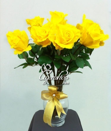 hoa lụa -hoa hồng vàng - uyenshop