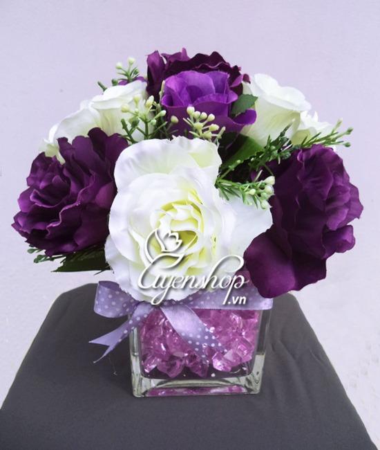 hoa lụa - hoa để bàn - hoa hồng - uyenshopq