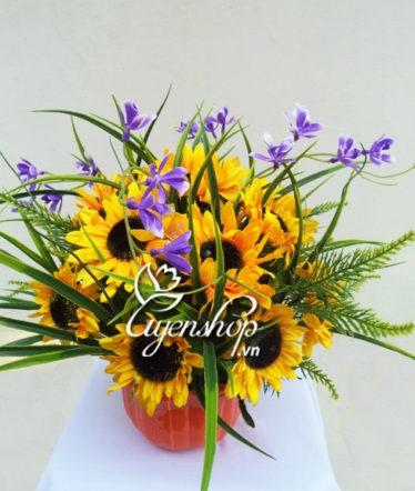 hoa hướng dương lụa - hoa lụa - uyenshop