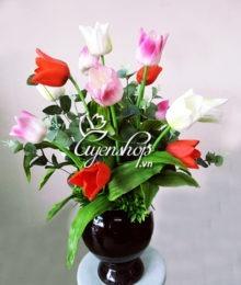 hoa tulip cao su - hoa gia - uyenshop
