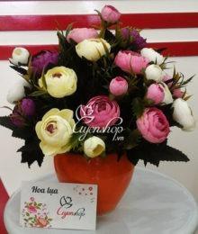 Lọ Hoa Trà trắng tím