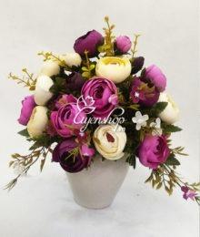 Bình hoa Trà trắng tím